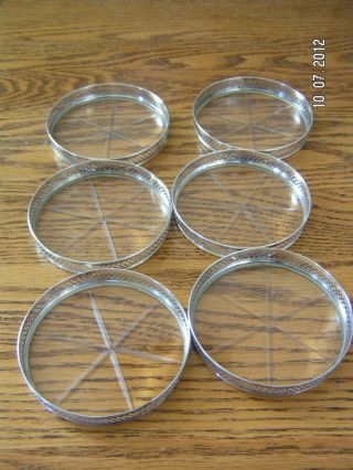 Six Antique Webster Sterling Silver Cut - Glass Coasters photo