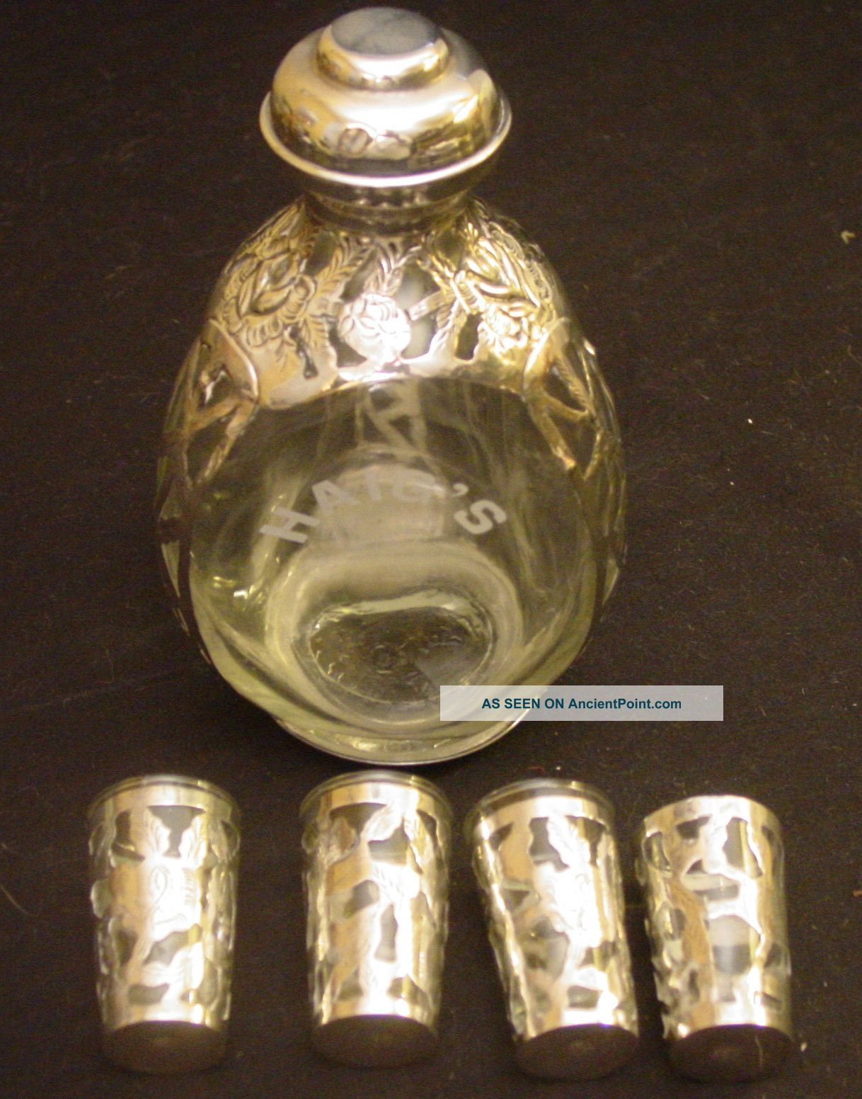 Vintage Haig ' S Mexican Sterling Silver Overlay Pinched Decanter & 4 Shot Glasses Mexico photo