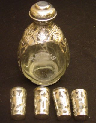 Vintage Haig ' S Mexican Sterling Silver Overlay Pinched Decanter & 4 Shot Glasses photo