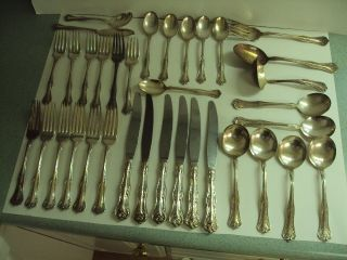 Vintage Set National Silver Plate Double Tested Flatware 35 Pieces Queen Elizabe photo