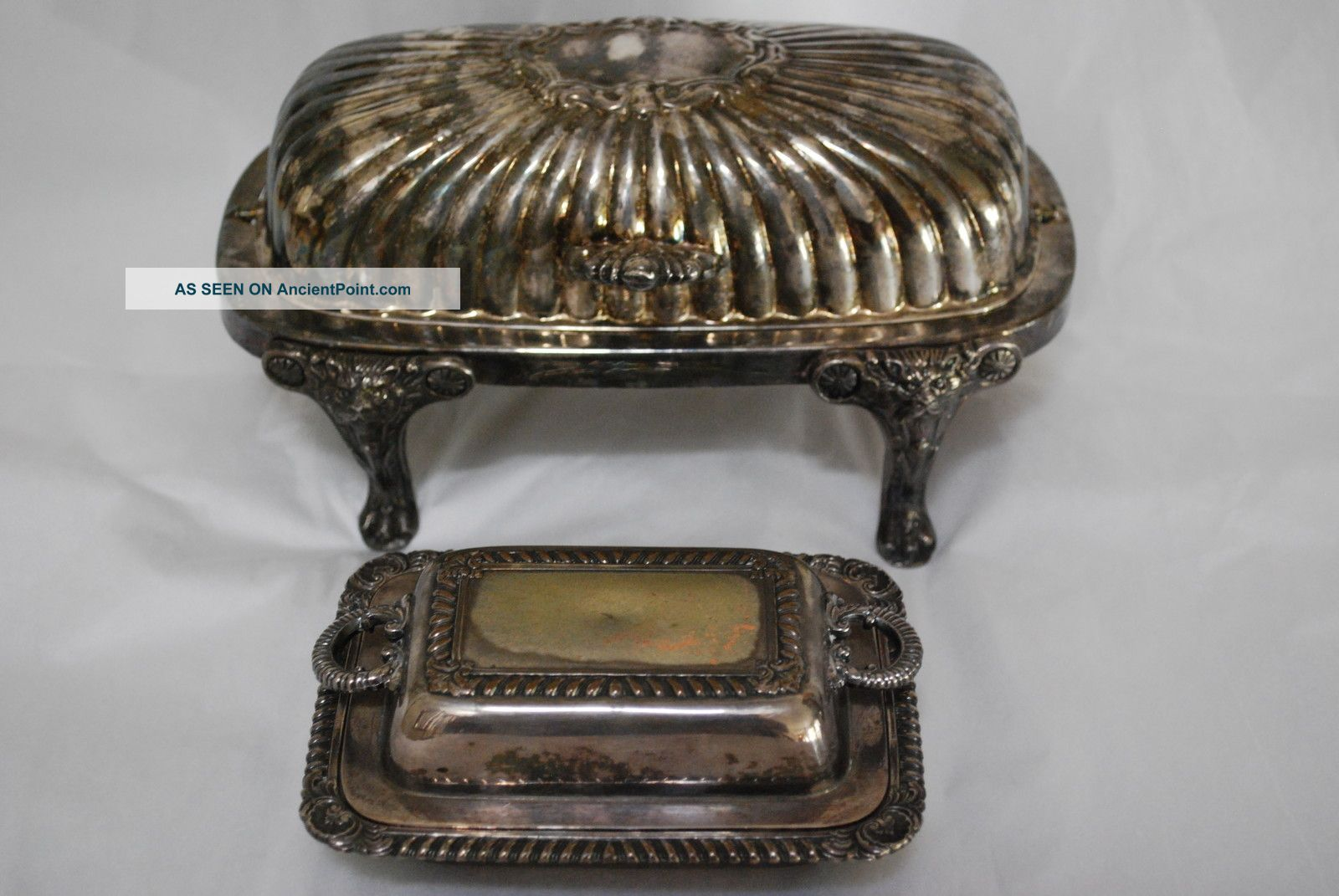 Vintage Collectible Fb Rogers Butter Dish & Small Butter Dish,  2 Butter Dishes photo