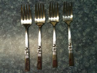 1948 Community Silverplate; Morning Star,  Set Of 4,  6 3/8th Inch Salad Forks photo