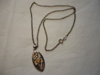 Silver Chain With Art Nouveau Style Silver Pendant photo