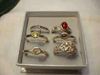 Six Silver Adjustable Rings photo