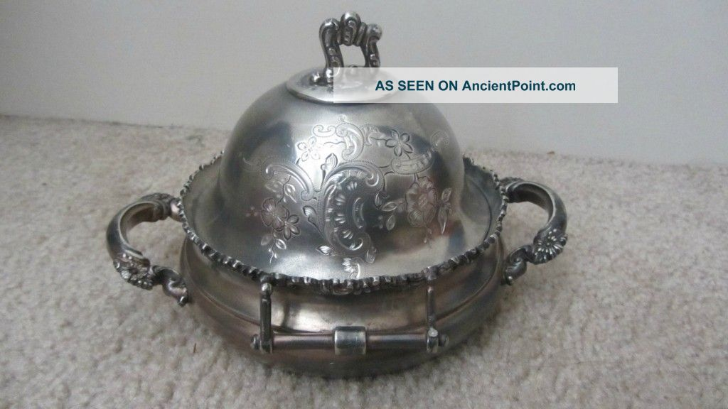 Antique Meriden Silver Plate.  Quadruple Plate Butter Dish,  Marked Butter Dishes photo