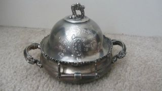 Antique Meriden Silver Plate.  Quadruple Plate Butter Dish,  Marked photo