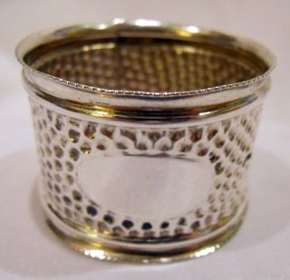 English Sterling Silver Napkin Ring Dimple Pattern Birm.  1910 photo