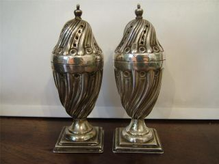 Antique Victorian Silver Urn Shaped Pepper Shakers Cellars 1892 photo