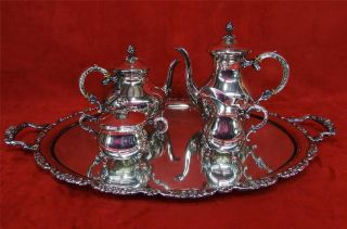 Handarbeit - German Hand Wrought Silver Plate Tea Set 5 P Tray Coffee Cream Sugar photo