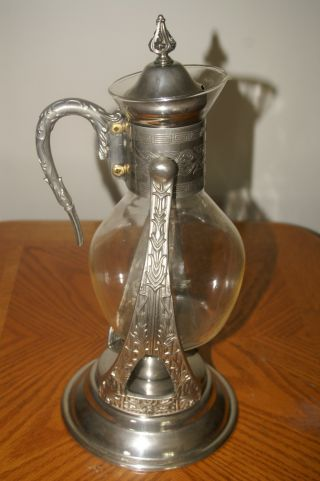 Antique Tipping Coffee/tea Carafe Silver Plated Stand W/warming Candle Mint Cond photo
