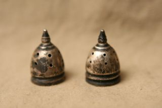Antique Sterling Salt & Pepper Shaker Tops Only photo
