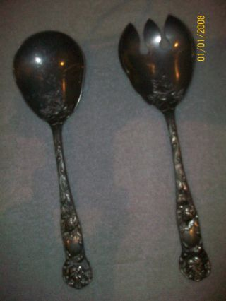 Antique Vintage W.  A Italy Silverplated Serving Set Spoon Fork Bridal Rose photo
