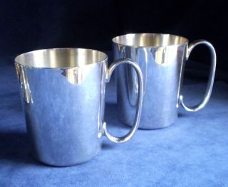 Pair James Dixon Silver Plated ½ Pint Tankards C1920 photo