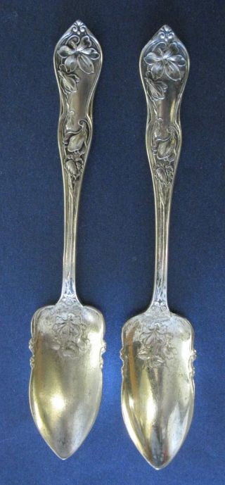 2 Antique Silverplate Grapefruit/fruit Spoons Marked