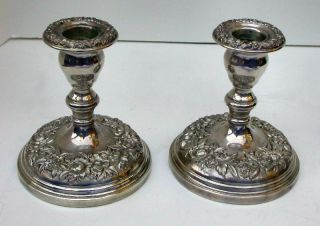 Vintage S.  Kirk & Son Sterling Silver Repousse Tall Candle Holders photo