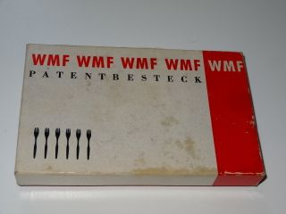 Silver Plated Set Of 6 Dessert Forks By Wmf Of Germany Boxed photo