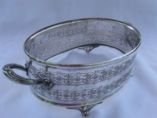 Charming Oval Pierced Silver Plated Bread Basket Epns B.  P.  Co photo