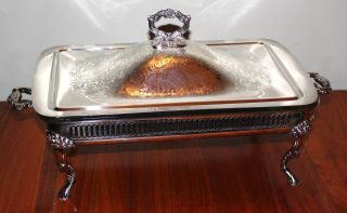 Outstanding Vintage Silver Plated Footed & Covered Serving Dish With Insert photo