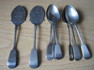 Daniel & Arter Bengal Silver Set Of 6 Teaspoons & 2 Engraved Servers Late1880 ' S photo