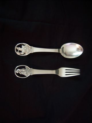 Danish Sterling Silver 925 S 2 Piece Chrildrens Spoon And Fork Figural photo