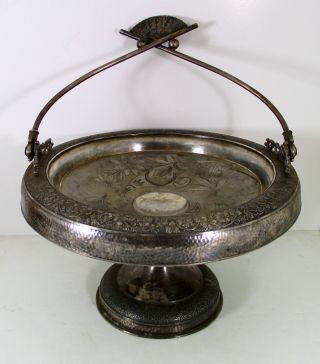 Antique Victorian Ornate Silver Brides Basket photo