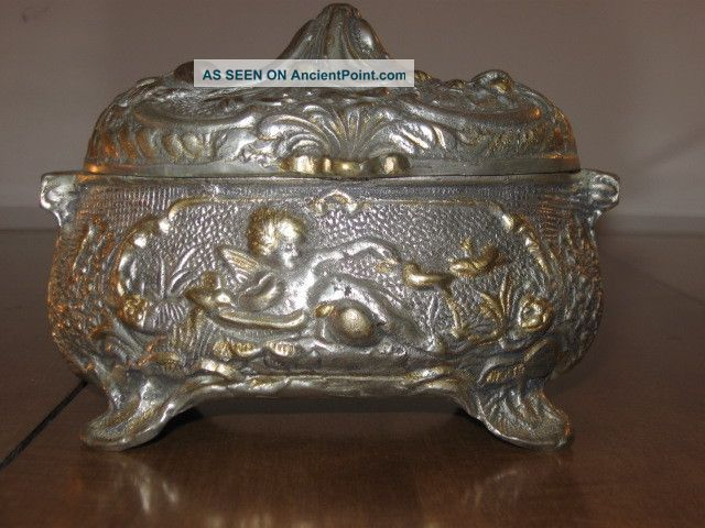 Antique Victorian Silver Tone Cherub Angel Box Hinged Medium Sized - Velvet Lined Boxes photo