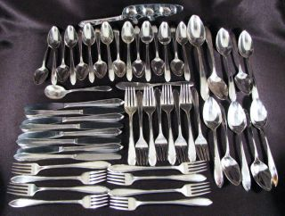 Antique Wm Rogers Mfg.  Co Lufberry Silverplate Flatware Set 53pc Service 8 1915 photo