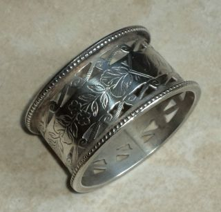 1890s.  Nathan & Hayes.  Fine And Heavy Open Work Silver Napkin Ring. photo