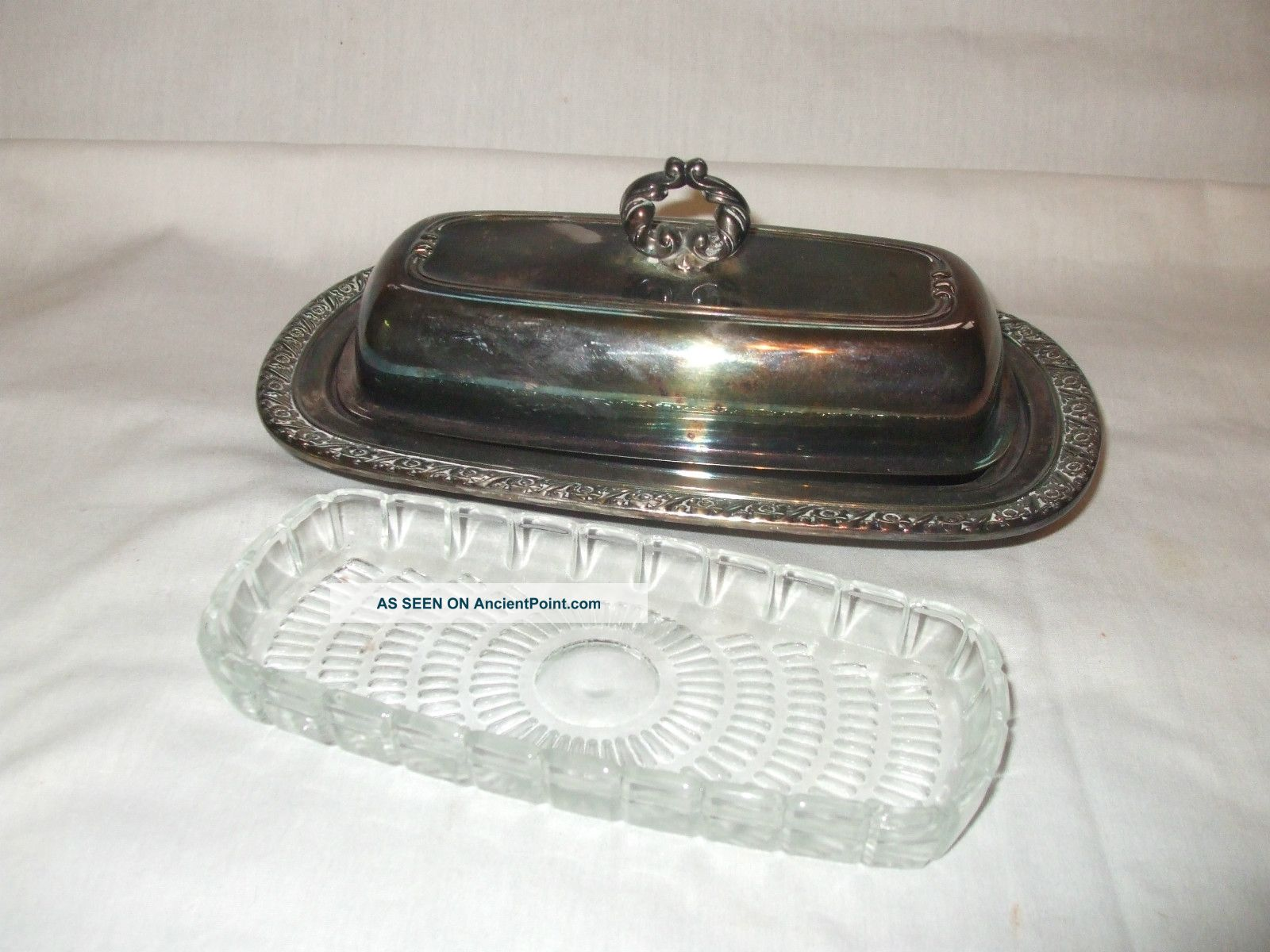 Vintage Oneida Ltd Silverplate Butter Dish With Glass Insert Butter Dishes photo