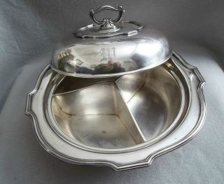 Antique Lbs Covered 3 Way Divided Silver Plate Serving Dish W/removable Handle photo