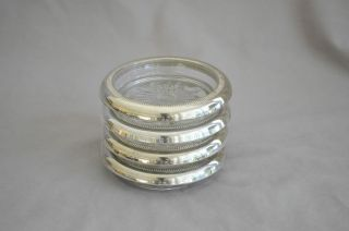 4 Vintage Crown Sterling Silver And Glass Coasters Ashtrays photo