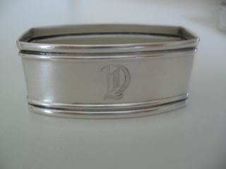 Fine Sterling Silver Napkin Ring Engraved Initial