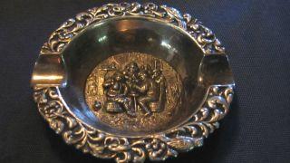Vintage Hooijkaas Dutch Hh 90 Silver Repousse Ashtray Ornate Pub Scene 3