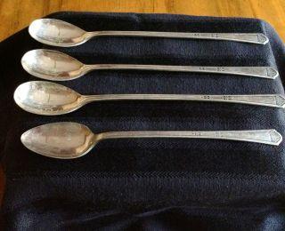 Vintage Florentine Silverplate Long Iced Tea Spoons - Four photo