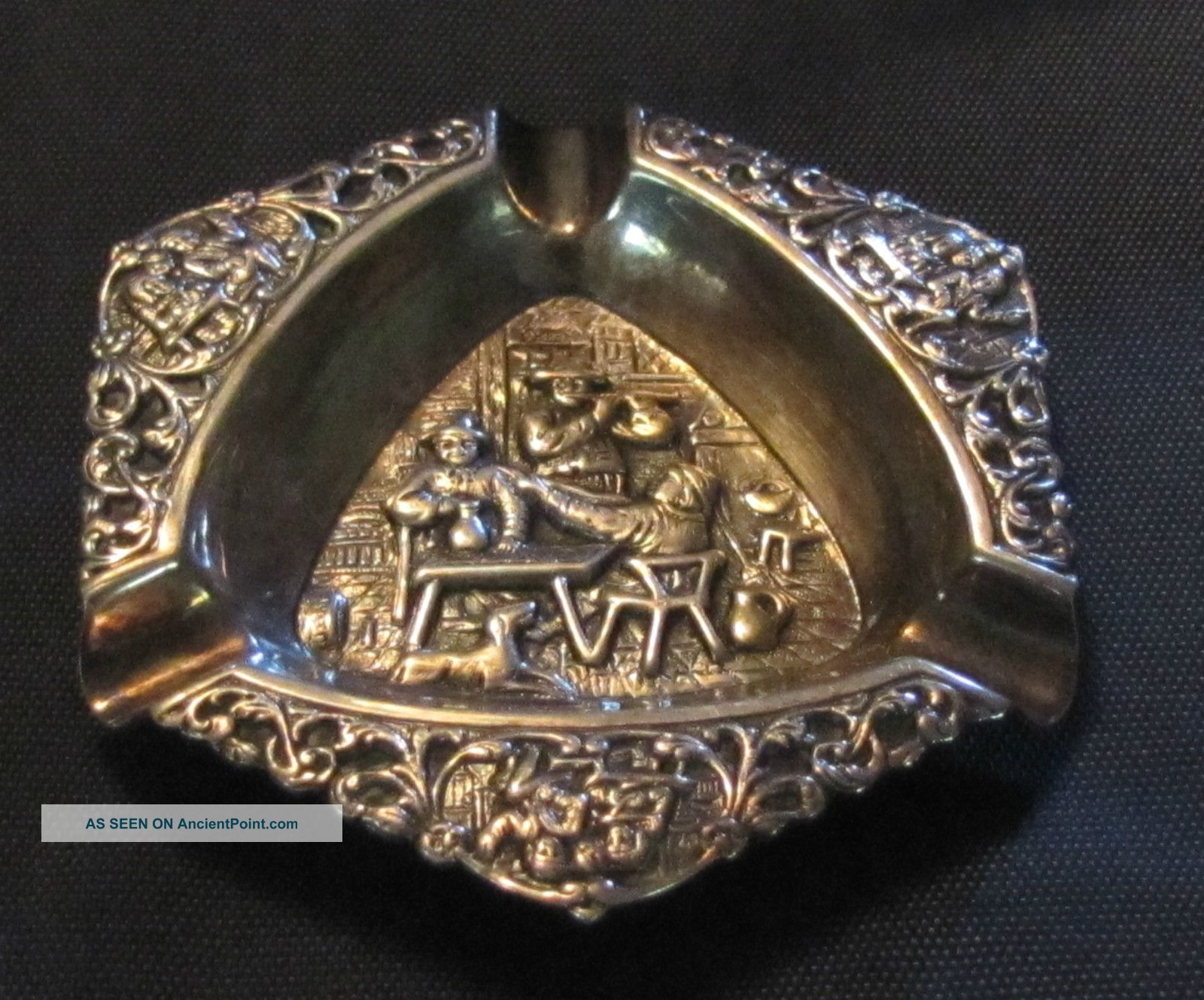 Vintage Hooijkaas Dutch Hh 90 Silver Repousse Ashtray Ornate Pub Scene 3