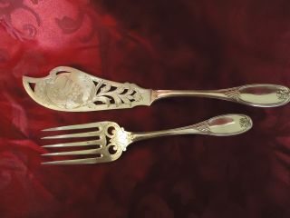J&i Cox Antique Early American Silver Plate Fish Knife Fork Serving Set 1848 Ny photo