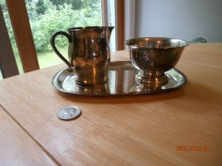 3 Piece Rogers Paul Revere Reproduction Sugar Bowl Creamer Small Tray Pitcher photo