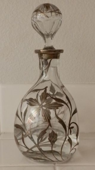 Silver Overlay Resist Decanter Floral Vintage Recessed Dimple All photo