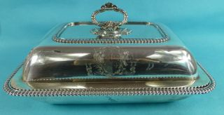 Magnificent Georgian Sterling Silver Entree Dish Armorial Emes & Barnard 1820 photo