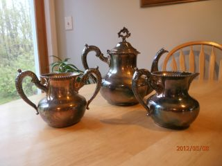 3 Pc Antique Rogers Special Quadruple Silverplate 155 Teapot Set Sugar & Creamer photo