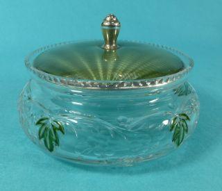 Stunning Art Deco Sterling Silver Green Guilloche Enamel Glass Powder Jar 1931 photo