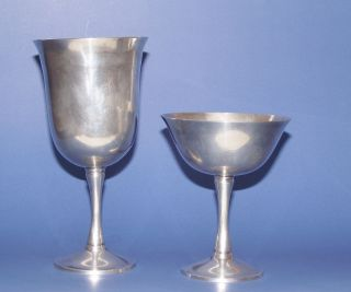 Salem Portugal Silver Plate Wine And Champagne / Champaign Goblets Silverplate photo