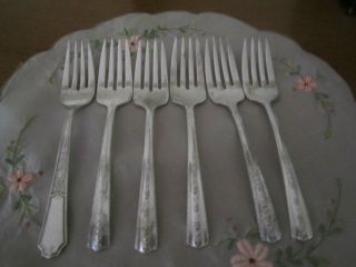 Vtg Wallace Brothers Plate Aa 1938 Roseanne Salad Fork Set Of 5 + 1 - 74 Years Old photo