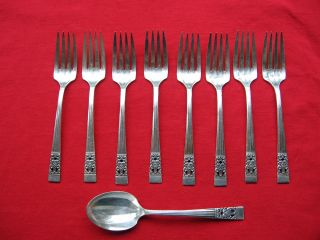 Community Coronation Pattern 8 Salad Forks And One Sugar (berry?) Spoon photo