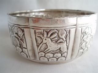 Indian Bowl,  Solid Silver Tested.  66 Gms.  Diameter 3.  5 Ins - 9 Cm.  Gorgeous. photo