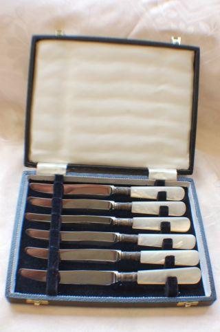 Set Of 6 Vintage Mother Of Pearl Stirling Silver Dessert Knives Sheffield photo