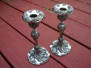 1906 Pair Art Nouveau Superior Silver Candlesticks Holders Flowing Grapes Leaves photo