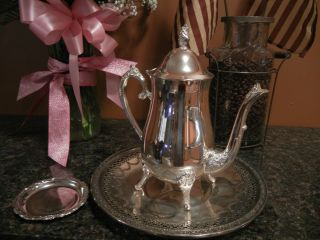Vintage Silver Plated Tea Pot+ Small - Mini Tray Madein Italy + Reed A Barton Tray photo