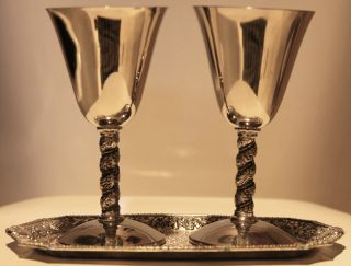 Silverplate Wine Chalices / Goblets From Spain With Tray.  Beautifully Ornate photo