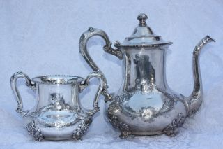 Antique Ornate Silver Plate Poole Silver Co.  Pattern 938 Teapot And Creamer Set photo